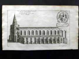Dugdale & King 1718 Antique Print. South Prospect of the Church of Croyland